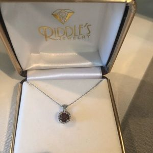 Riddles Garnet pendant diamond necklace